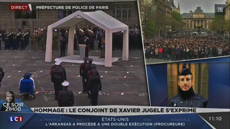 Capture d'écran de l'hommage rendu à Xavier Jugelé