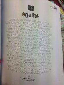 « égalité» : édito du Oui Magazine du printemps 2018
