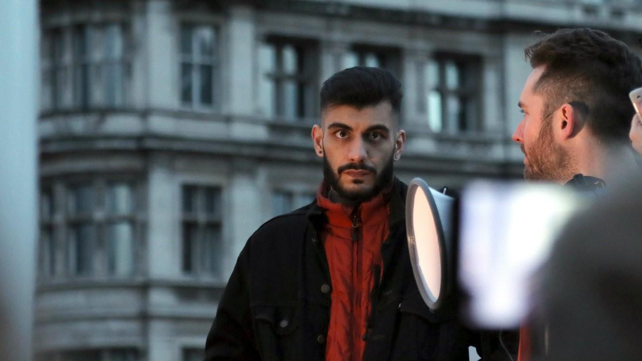 Shahmir Sanni à une manifestation le 29 mars 2018 à Londres
