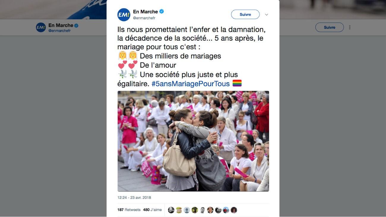 En Marche tweet 5 ans du Mariage pour Tous