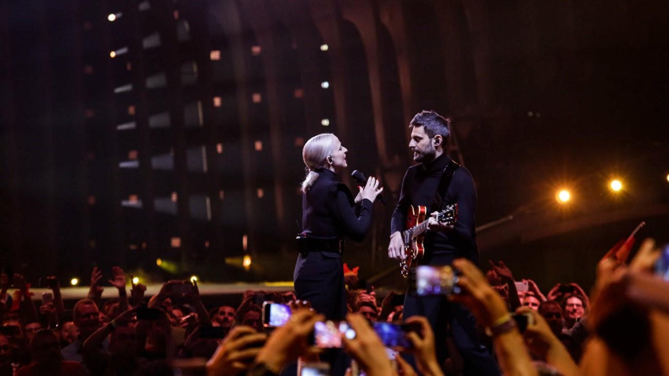 Madame Monsieur lors des répétitions de la finale de l'Eurovision 2018