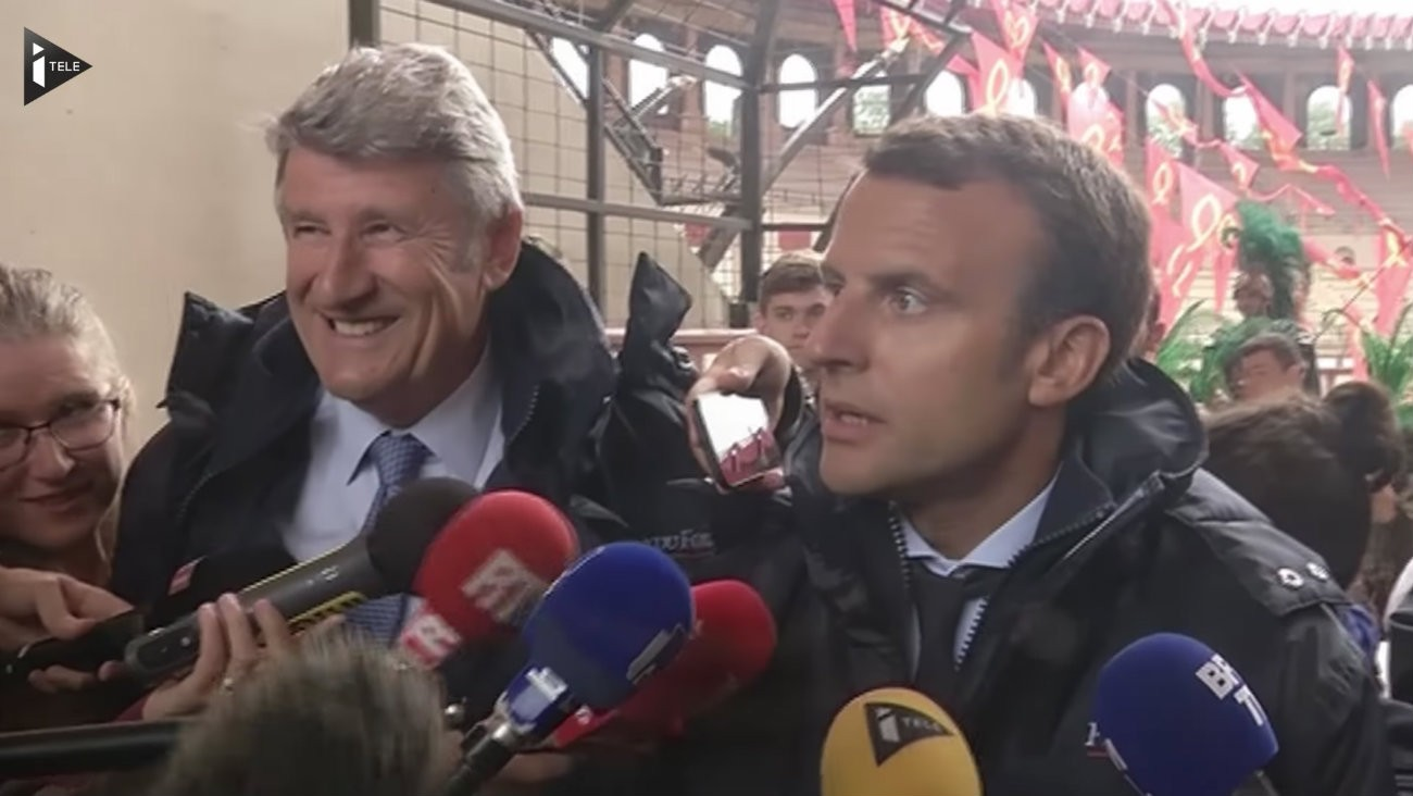 Emmanuel Macron et Philippe de Villiers au Puy du Fou en août 2016 - Capture d'écran / iTélé