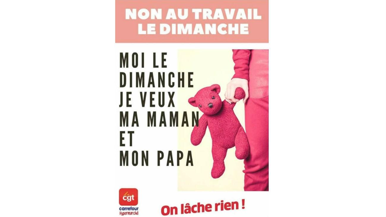Affiche CGT Carrefour Hypermarché reprenant les éléments de langage de la Manif pour tous - CGT Carrefour Hypermarché / Facebook