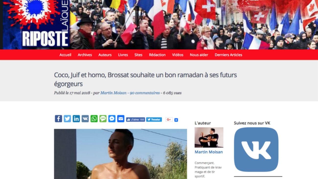 Capture d'écran du site d'extrême droite «Riposte laïque» qui s'en prend à l'élu Ian Brossat avec des propos homophobes et islamophobes