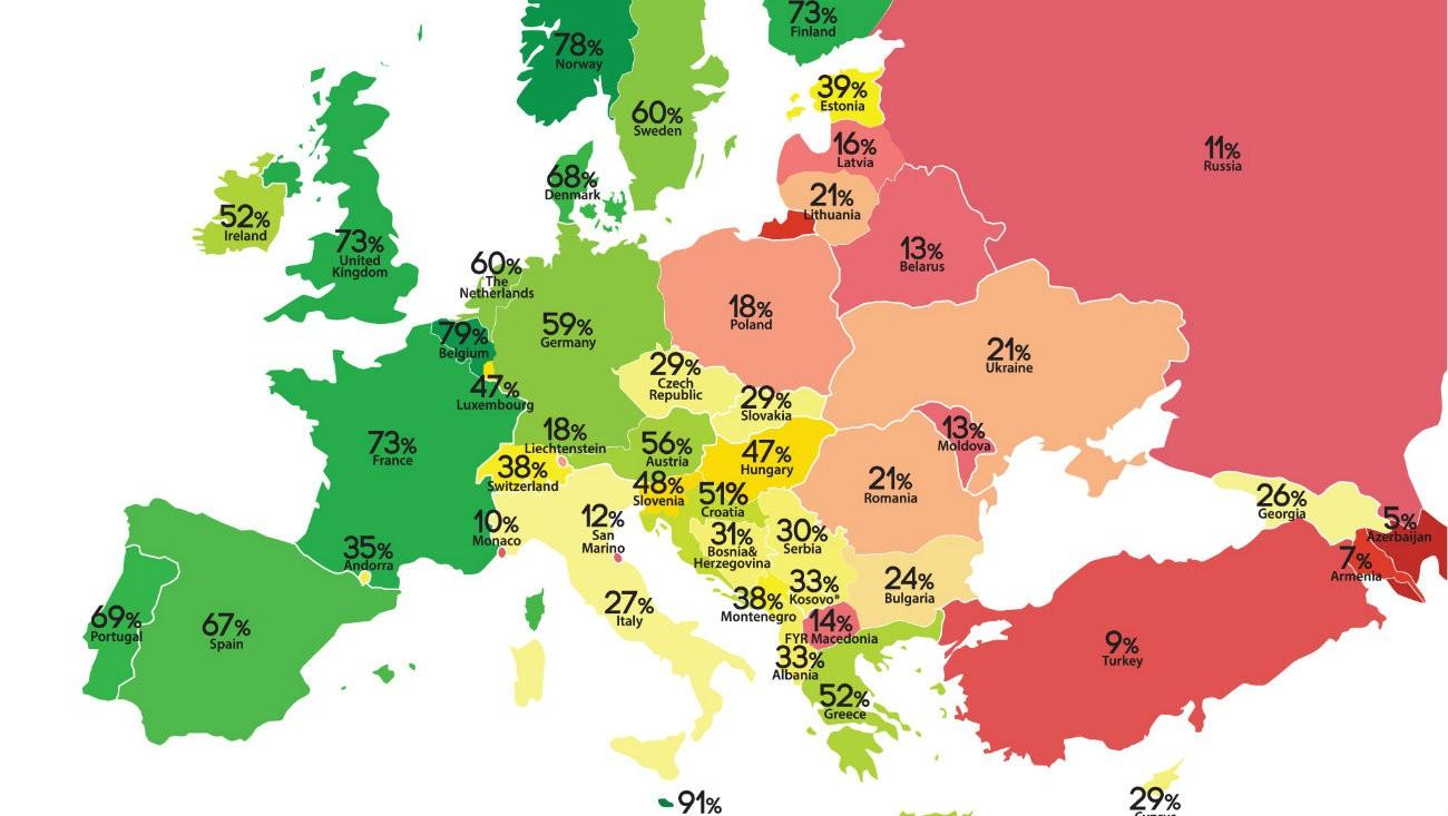 La Rainbow Map 2018 / ILGA-Europe