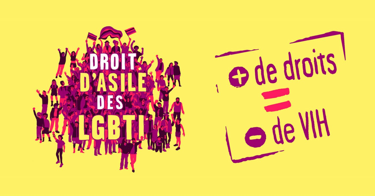 Visuel de la campagne Pride Fiertés Asile LGBT / AIDES