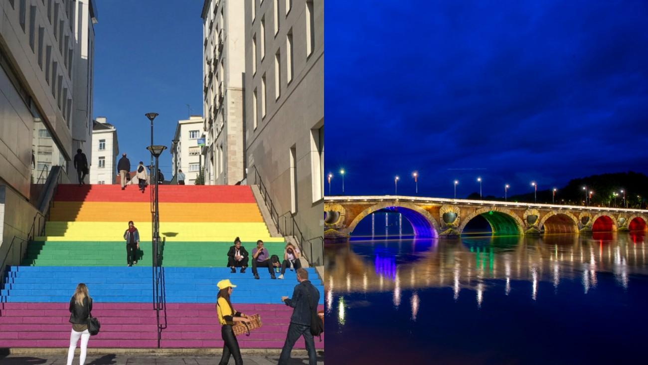 A gauche les marches des fiertés à Nantes et à droite le Pont Neuf de Toulouse