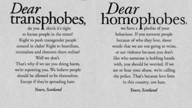 Affiches de la campagne écossaise contre l'homophobie et la transphobie - One Scotland