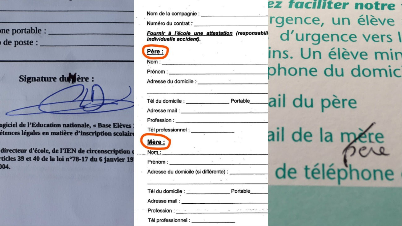 Trois exemples de fiches de renseignement non inscluvies pour les familles homoparentales - @homoparentalite @lestriplettes34 @2papasFR / Twitter