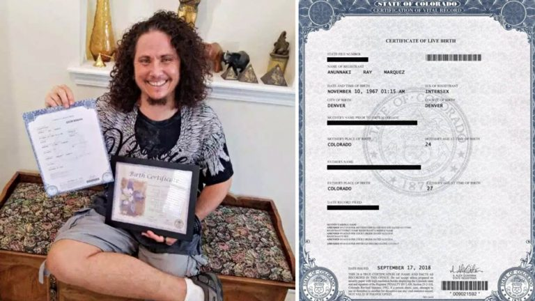 Mx. Anunnaki Ray Marquez, activiste intersexe américain vient d'obtenir son acte de naissance avec la mention de son intersexuation, une première, après 15 mois de bras de fer administratif