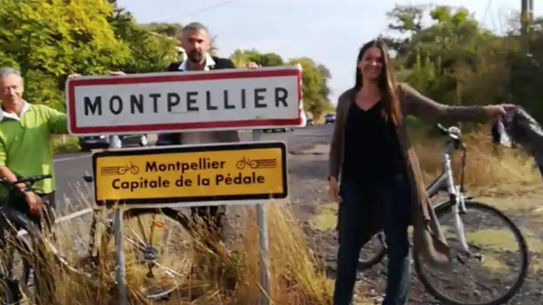 Le faux panneau a été dévoilé mardi 9 octobre par trois membres du groupe EELV de Montpellier - Capture d'écran Midi Libre