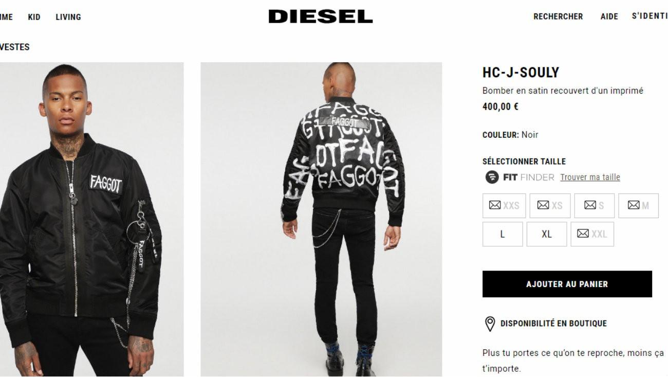 diesel veste faggot pédé 400 euros pinkwashing indecence