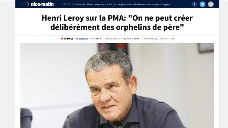 Henri Leroy interviewé par Nice-Matin sur la PMA - Capture d'écran nicematin.com