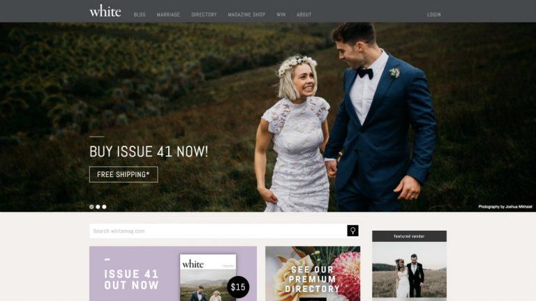 Capture d'écran de la page d'accueil du site du magazine White - Whitemag.com