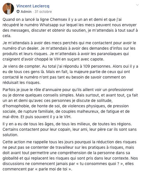 Le message publié par Vincent Leclercq sur le groupe Facebook Info Chemsex by Aides