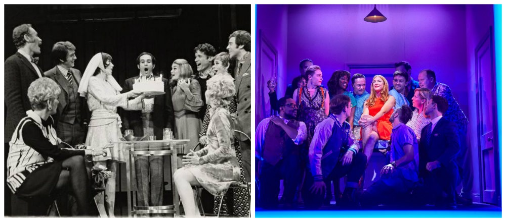 La troupe de la création originale de «Company» en 1970, à Broadway et celle de la production londonienne en 2018