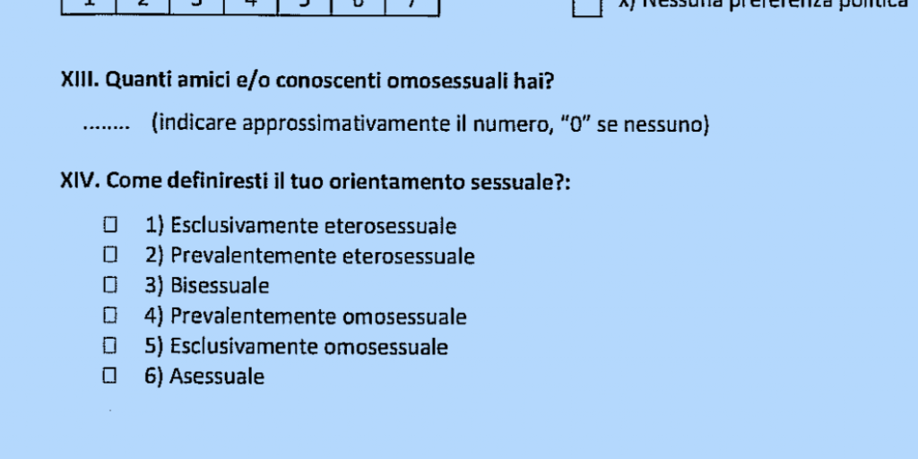 questionnaire homophobie italie