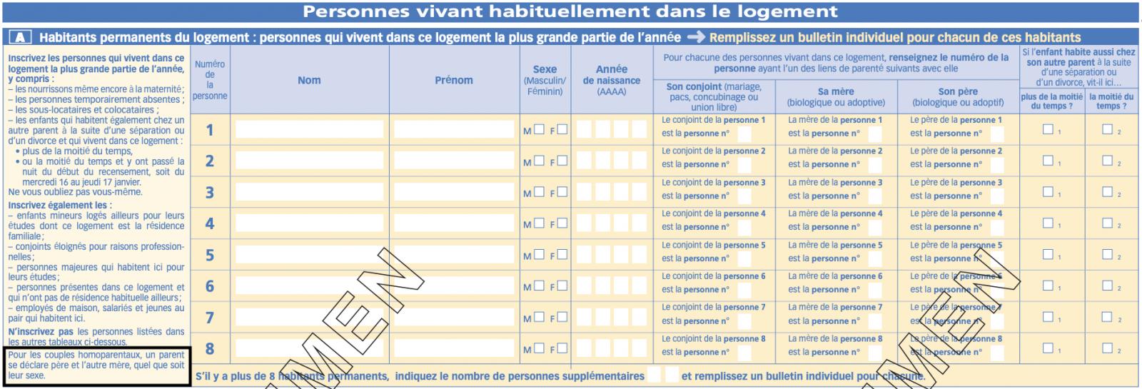 Capture d'écran de la page 2 et 3 de la feuille logement de recensement de l'INSEE