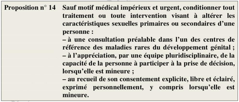 Proposition n°14 du rapporteur de la mission d'information sur la révision de la loi relative à la bioéthique, concernant les personnes intersexes.