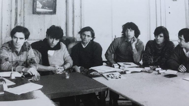 L'équipe du Gai Pied en 1980 : Gilles Barbedette, Serge Héfez, Jean Le Bitoux, Kevin Kratz, Jean-Marie X, Antoine Perruchot - Jean Stern