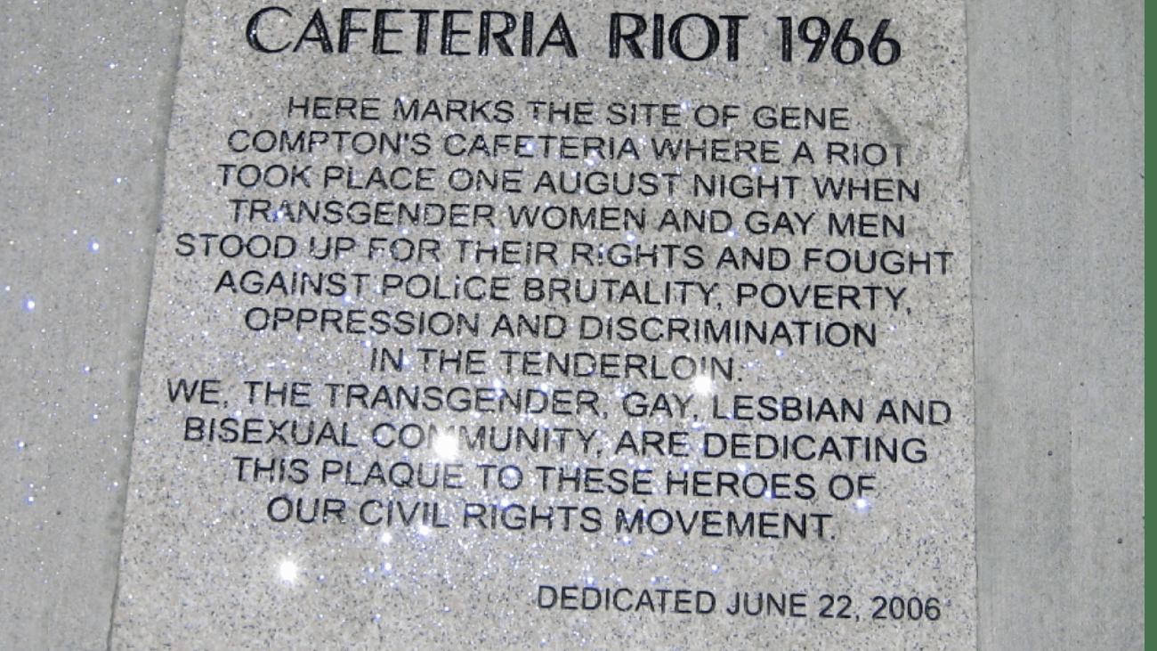 La plaque commémorant les émeutes de la Compton Cafeteria, à San Francisco - By Gaylesf