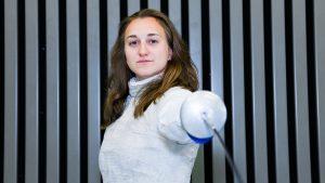 L'escrimeuse Julie Mienville - Teresa Suarez pour Komitid