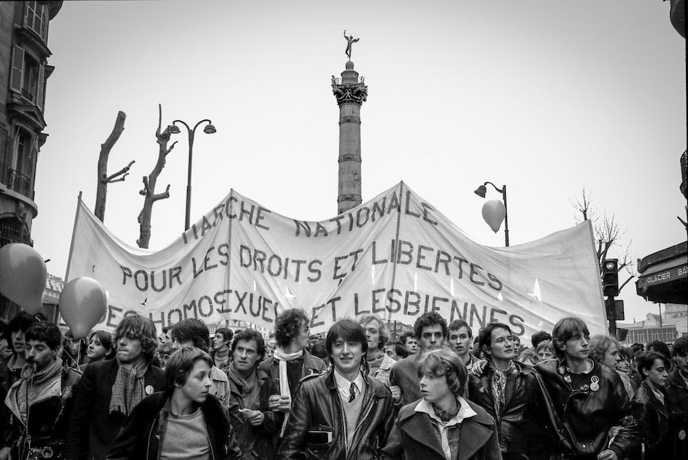 La première « Marche nationale pour les droits et les libertés des homosexuels et des lesbiennes », organisée par le CUARH le 4 avril 1981 à Paris - Claude Truong Ngoc