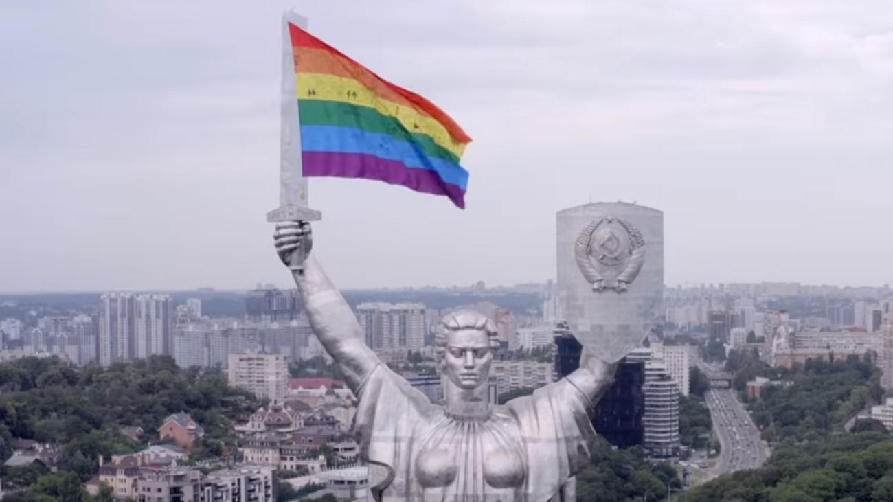statue kiev rainbow flag
