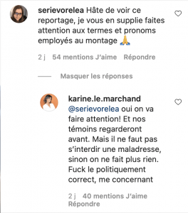 commentaire intagram karine le marchand