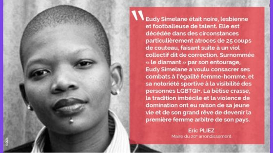 Paris: le 20ème arrondissement renomme un terrain sportif en l'honneur de la footballeuse sud-africaine lesbienne Eudy Simelane