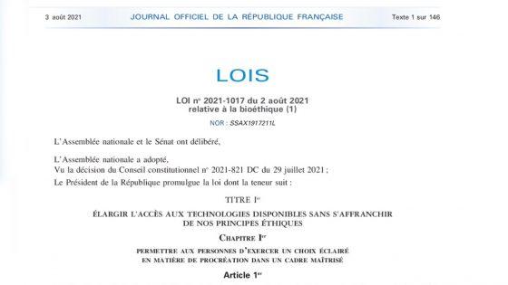 La loi bioéthique, ouvrant le droit à la PMA, promulguée au Journal officiel